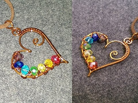 heart pendants with colored crystal beads - How to make wire jewelry 201