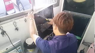 대구죽전동상가에어컨청소 , 고온스팀기 살균작업중