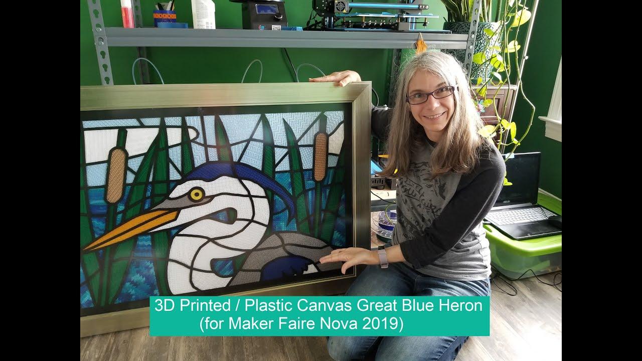 A 3D Printed / Plastic Canvas Heron for Maker Faire Nova