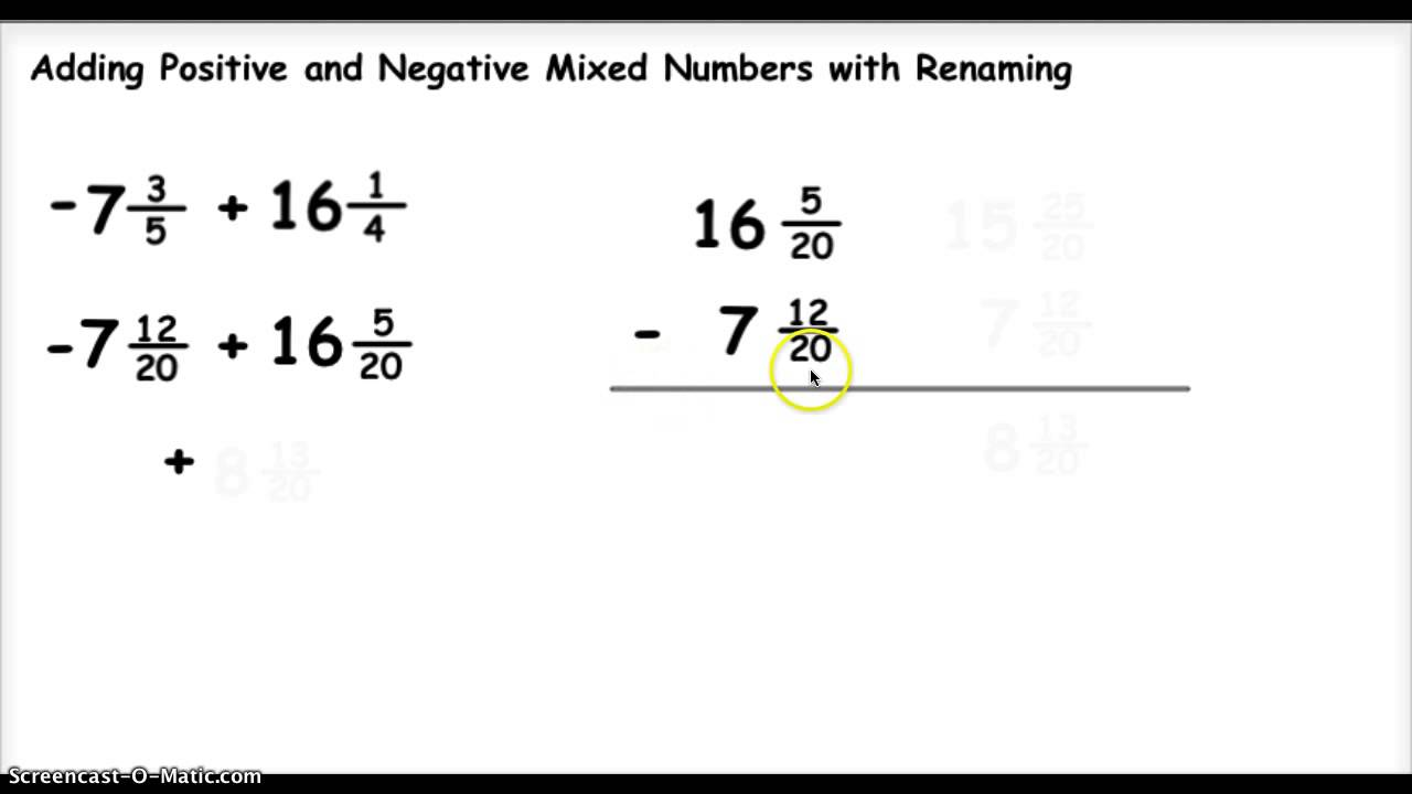 worksheet Subtracting Whole Numbers From Fractions adding positive and negative mixed numbers 1 youtube