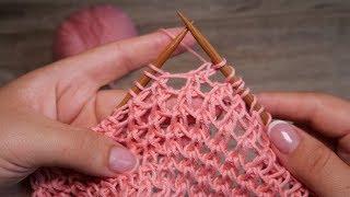 Необычная сетка спицами | Mesh Knitting Pattern