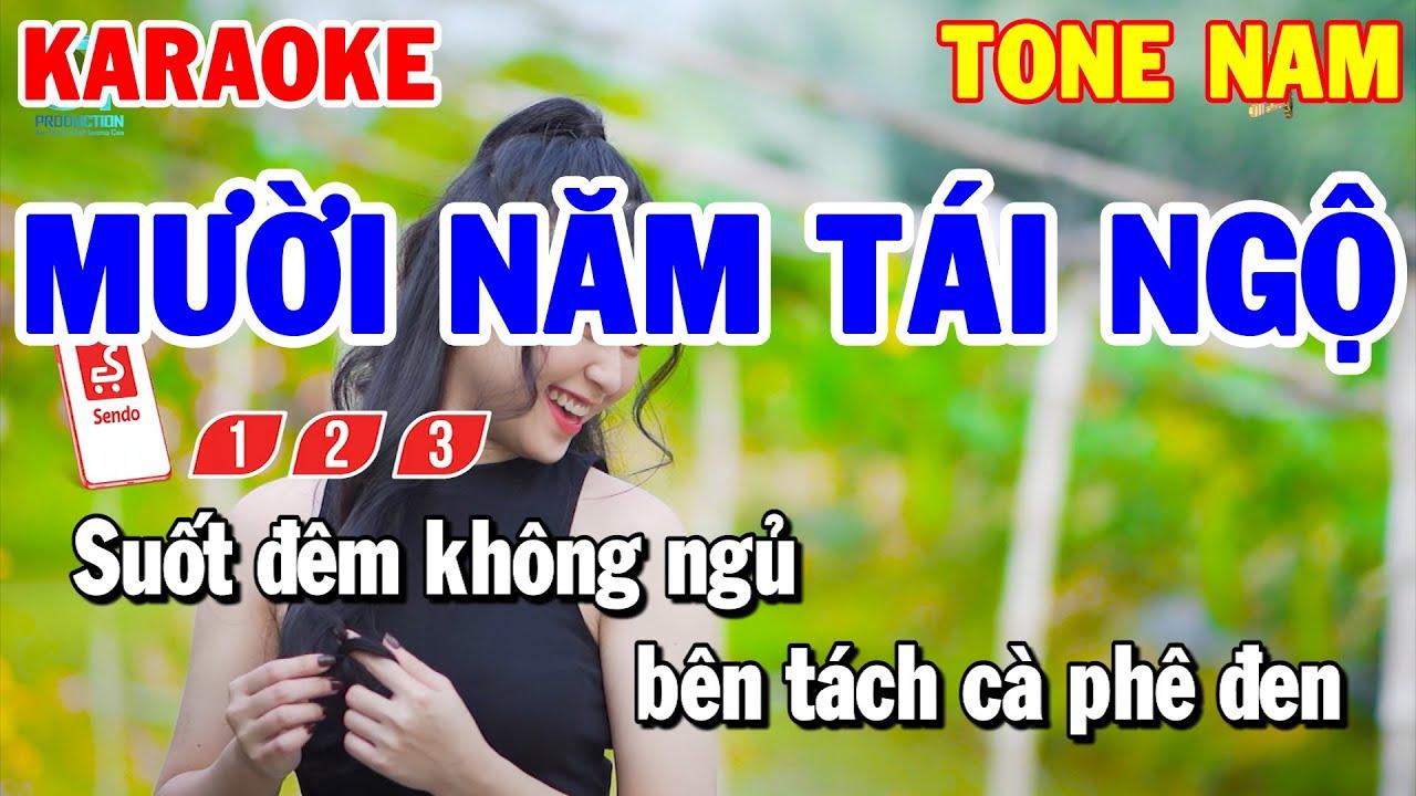 Karaoke Mười Năm Tái Ngộ Tone Nam | Nhạc Sống Trữ Tình Beat Hay Dễ Hát | Karaoke Thanh Hải
