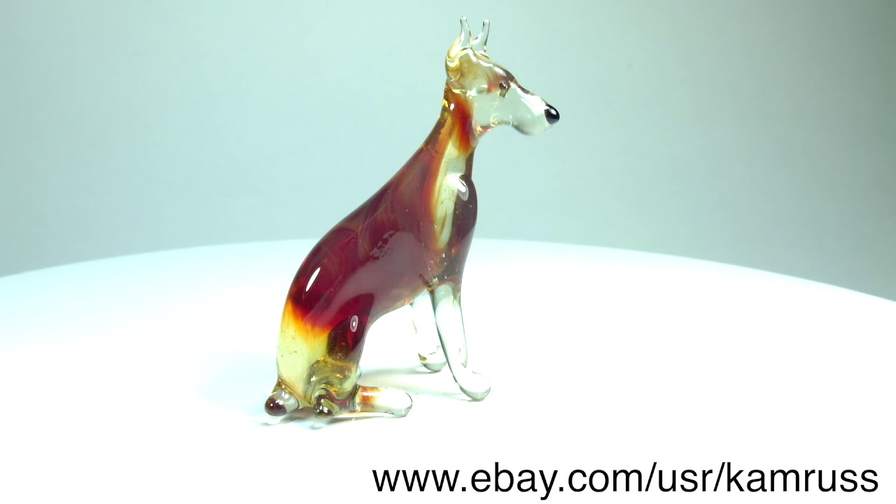 Art Blown Glass Murano Figurine Glass Dog Greyhound