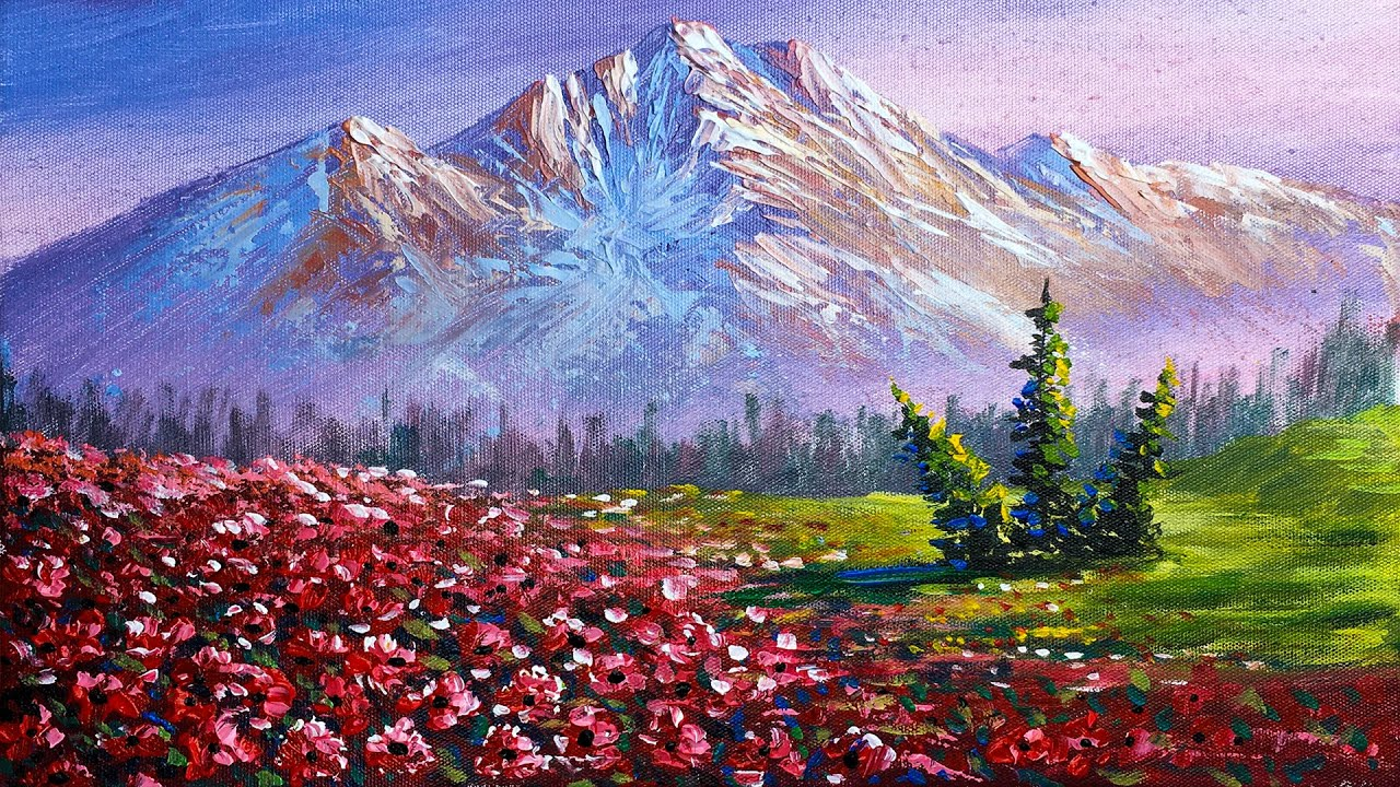 Mountain and Flowers Painting | How to Paint Mountain and Flowers in Acrylics ???