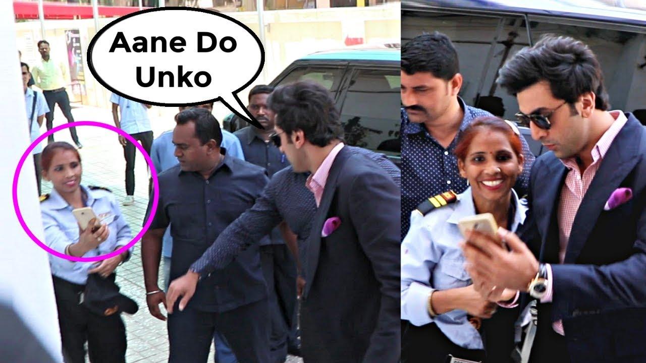 Ranbir Kapoor Sweet Gesture Towards Female Security Guard