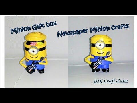 DIY Minion Mini Gift Box   How to make minion gift box   Newspaper minion   DIY CraftsLane