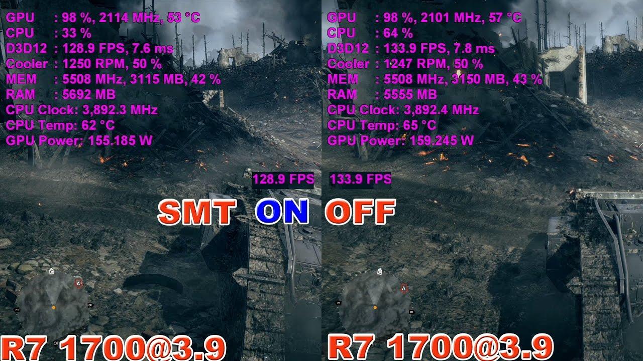 RYZEN R7 1700 в BF1 (SMT — ВЫКЛ/ВКЛ)