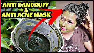 ONE MASK FOR FACE HAIR NEEM MASK FOR DANDRUFF FREE SCALP ACNE FREE SKIN TRY THIS ONCE DEMO