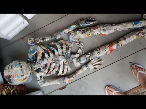 how to make a skeleton using paper mache part 2 of 3 Halloween decoration