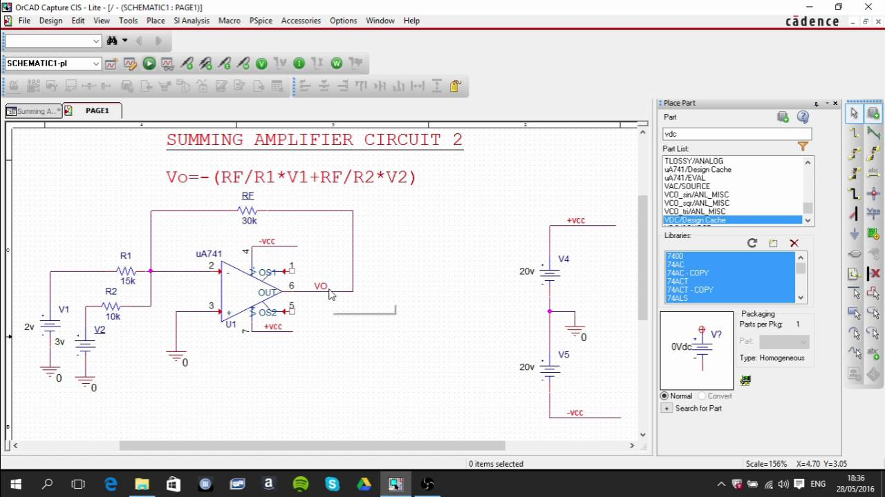 Op Amp Summing Amplifier Pspice Circuit Youtube