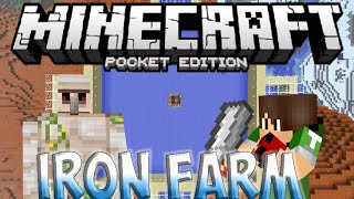 MCPE IRON FARM! - Daily Supply of 5-6 Iron! | Minecraft Pocket Edition