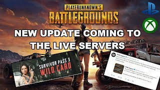 PUBG XBOX/PS4 NEWEST UPDATE - UPDATE COMING TO LIVE SERVERS LOADING HOT FIX WILD CARD PASS AND MORE!