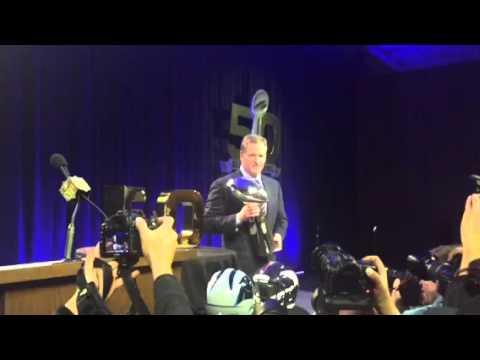 NFL Commissioner Roger Goodell With Vince Lombardi Trophy #SB50