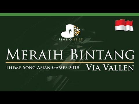 Meraih Bintang - Via Vallen - LOWER Key - Theme Song Asian Games 2018 (Piano Karaoke / Sing Along)