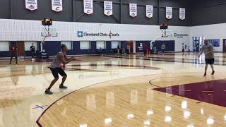Cleveland Cavaliers working with Rodney Hood on footwork, shooting mechanics
