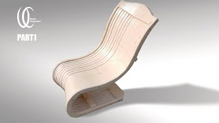 Part1: Awesome Chair!! Does this curve make in the wood? Uncle carpenter's easy chair Making.
