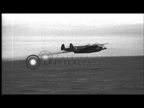 A PBM Mariner takes off from water in the Antarctic Peninsula during Operation Hi...HD Stock Footage