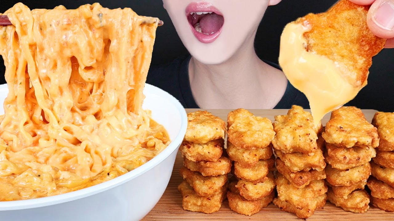 ASMR MUKBANG SPICY CREAMY CHEESY NOODLES CHICKEN NUGGETS 크림진짬뽕 치킨너겟 먹방 チーズ 辛いラーメン 咀嚼音 EATING SOUNDS