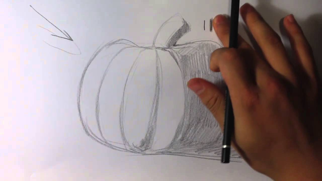 pumpkin drawing with shading. how to shade a pumpkin - halloween drawings drawing with shading e