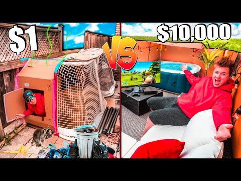 $1 VS $10,000 BACKYARD BOX FORT! (SURVIVAL CHALLENGE)