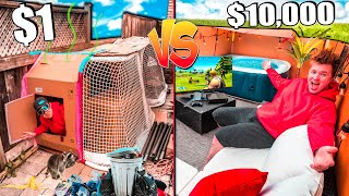$1 VS $10,000 BACKYARD BOX FORT! (SURVIVAL CHALLENGE)