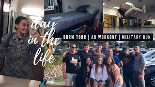 A DAY IN THE LIFE // MILITARY BUN // DORM TOUR
