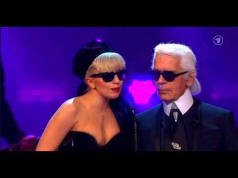 Lady Gaga gets an award for Pop International at the BAMBI Awards (Germany 2011)