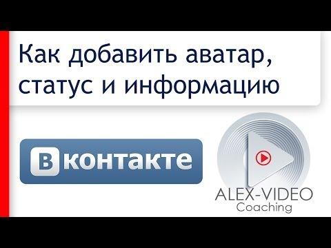 Как добавить аватар, статус и свою информацию Вконтакте