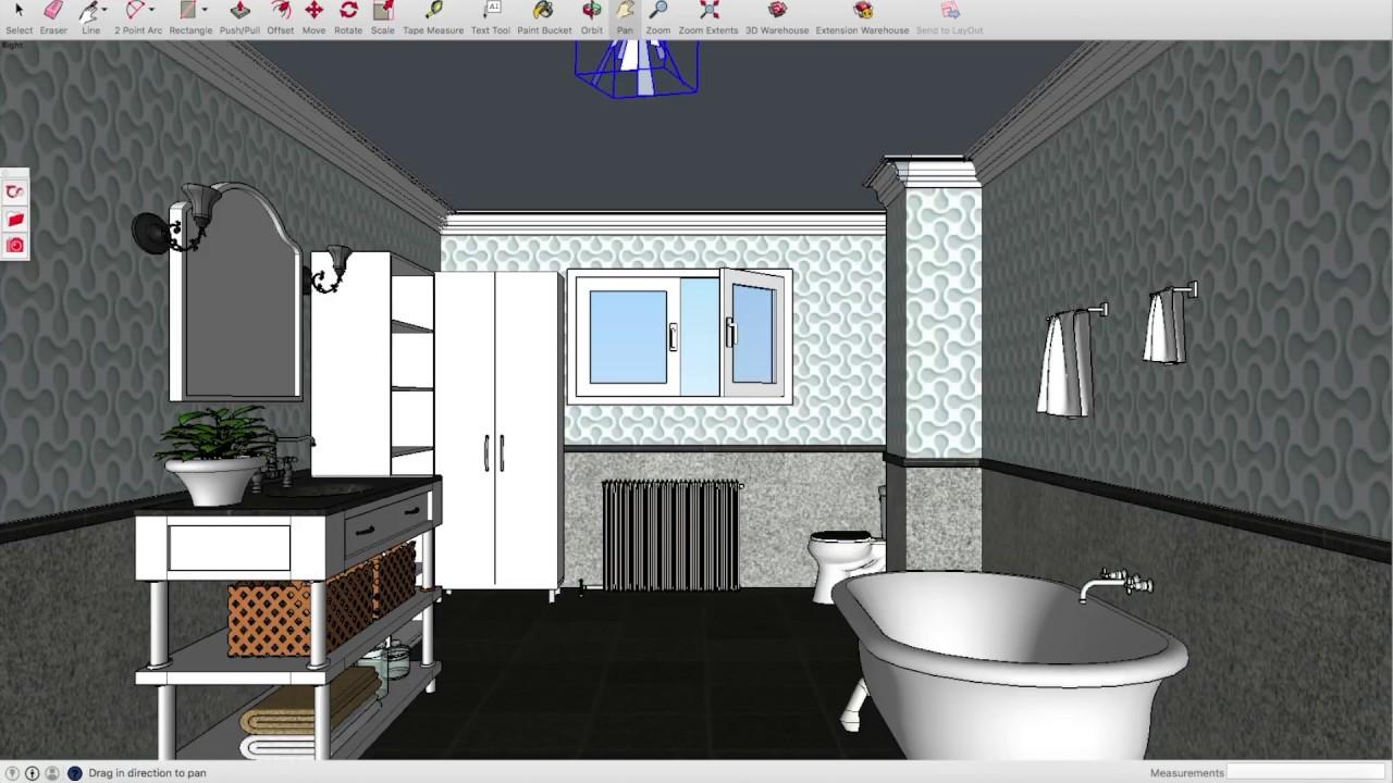SketchUp Bathroom Tutorial Beginners Layout Gates 3 Designs