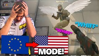 CS:GO - WHEN EU PROS ENTER *NA MODE!* - (WHIFF SHOTS! Pro Fails, Knife Fails, NINJA Fails)