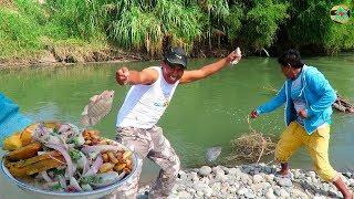 Pesca de Tilapias Grandes en Río con Anzuelo - Pesca y Ceviche de Tilapias en Río