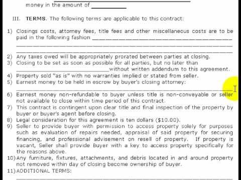 FREE Real Estate Purchase Contract, Pt 2 of 2 (Step-by-Step) - YouTube - home sales contract