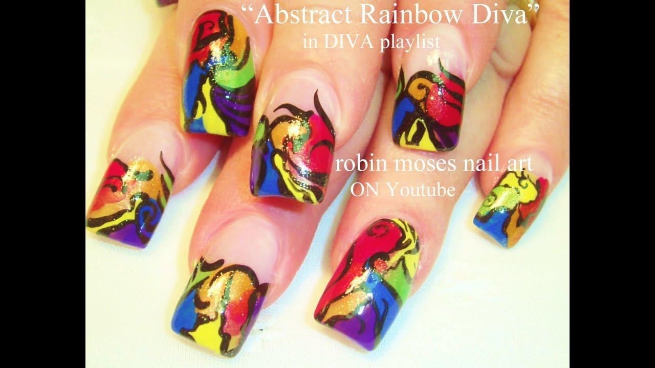 Bright Rainbow Abstract Nails | Long Nail Art Design Tutorial - YouTube