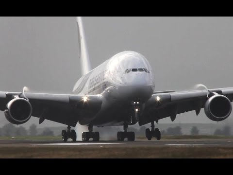 Malaysia Airlines Airbus A380 Landing at Paris CDG (HD)