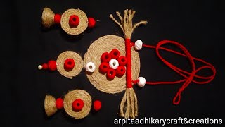 DIY handmade jute jewellery making with cotton ball