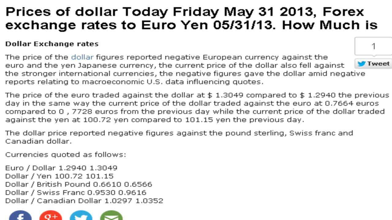 Dollar Euro Yen Prices Exchange Rates Today Friday 31 May 2017