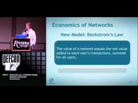 DEFCON 17: Beckstrom's Law - A Model for Valuing Networks and Security