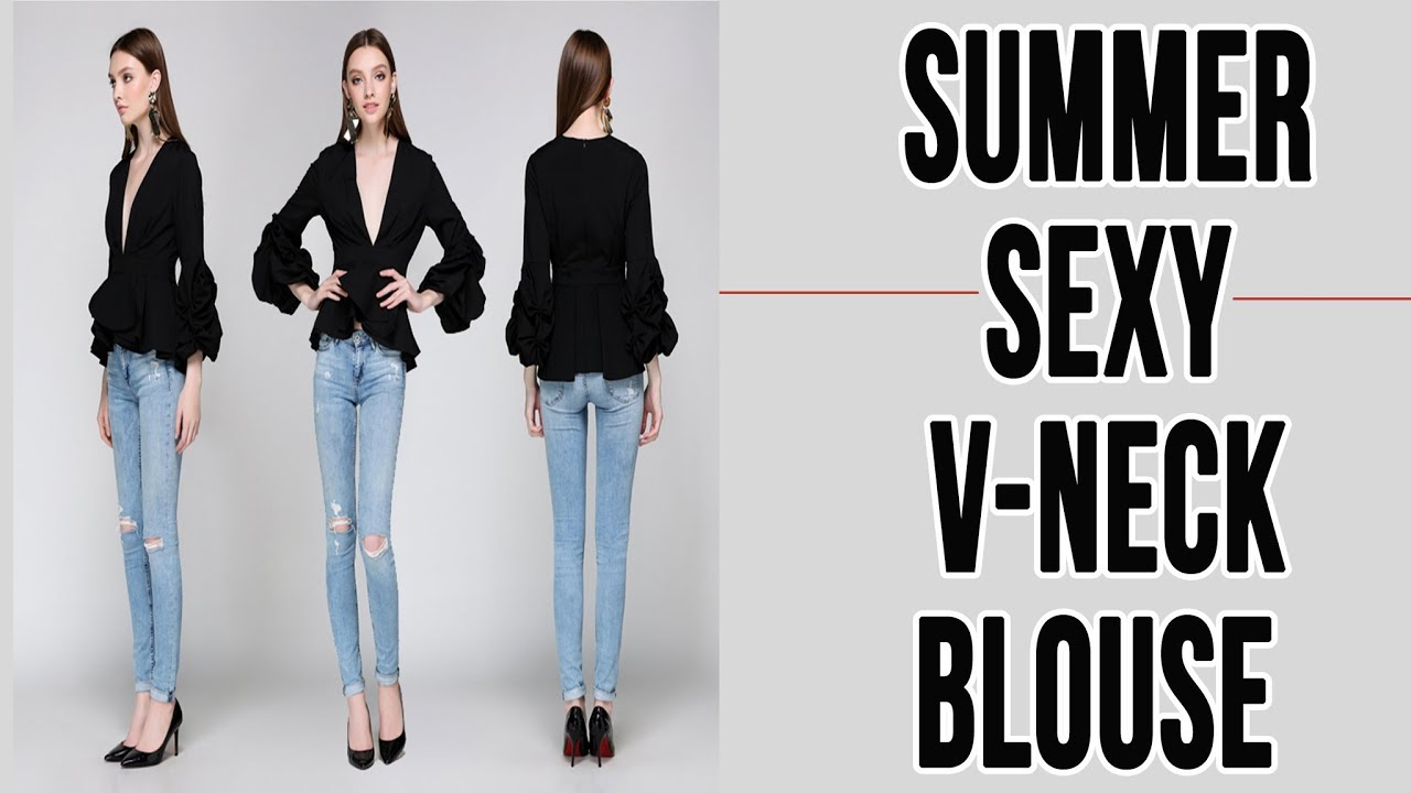 116b092a1b Runway Designer Tops Blouse  2018   Summer Women s Sexy Deep V Neck ...