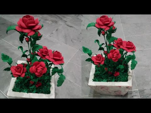 How To Make A Flower With Paper :Foam Sheet Rose flowers Vase/DIY Home Decoration Ideas/