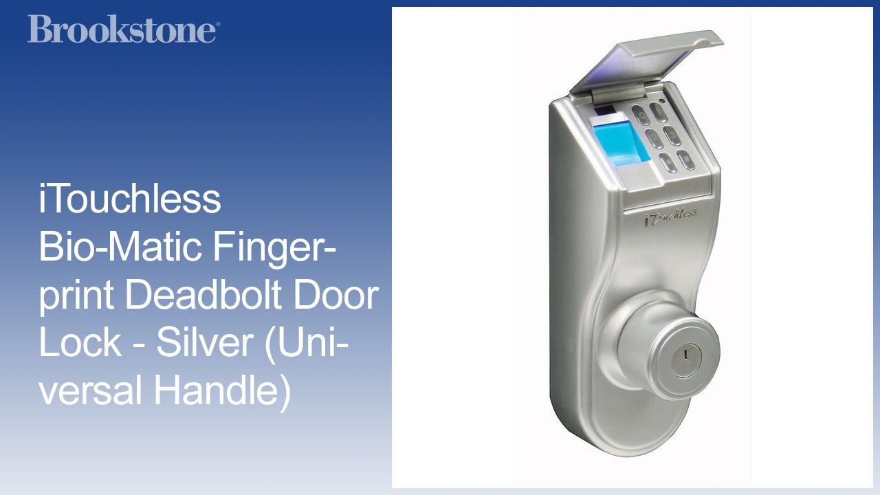 ITouchless Bio Matic Fingerprint Deadbolt Door Lock   Silver (Universal  Handle)