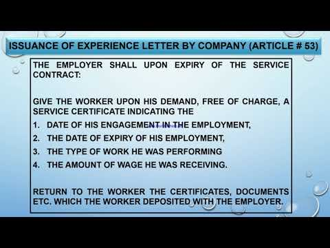 Qatar Labor Law in Hindi/Urdu (Employee Experience Letter Article no 53)