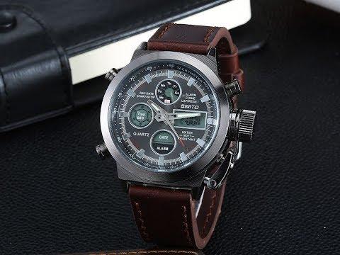 AMST военные часы с кожанным ремешком