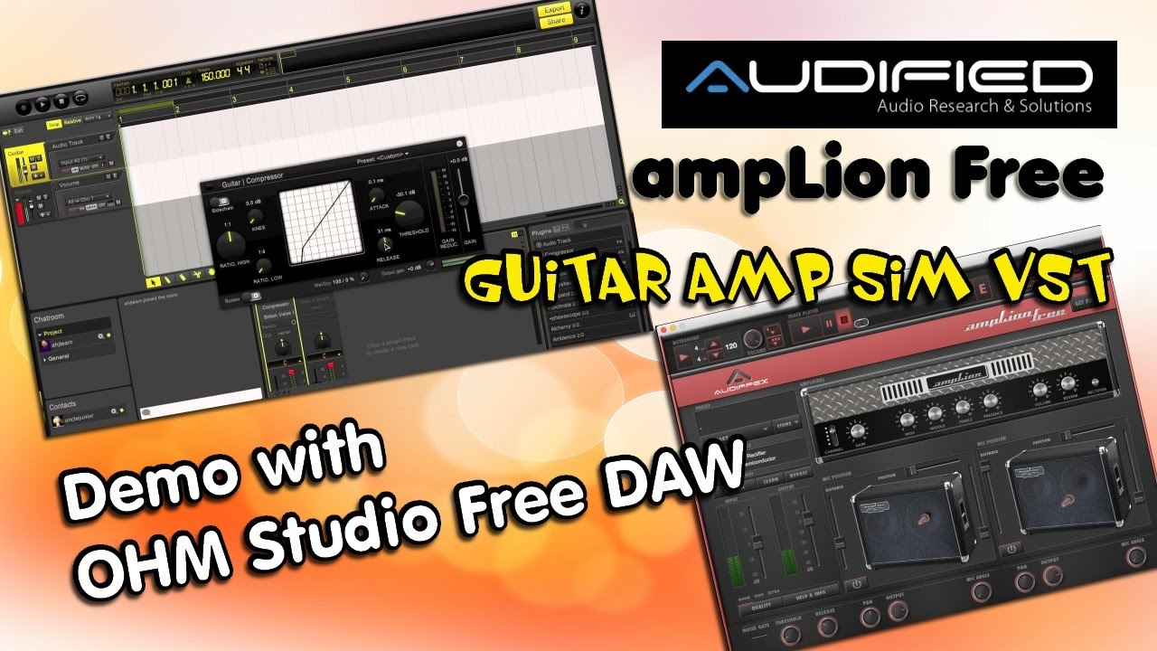 audified amplion free vst guitar amp sim demo with ohm studio free youtube. Black Bedroom Furniture Sets. Home Design Ideas