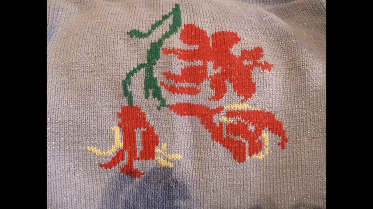 Вышивка на вязаном изделии мастер класс