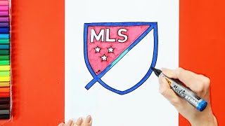 How to draw and color Major League Soccer (MLS) logo