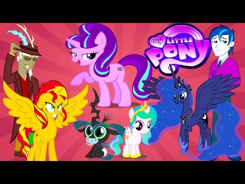 My Little Pony Transforms - Princess Luna Sunset Shimmer Alicorns - MLP  Coloring Videos For Kids - YouTube