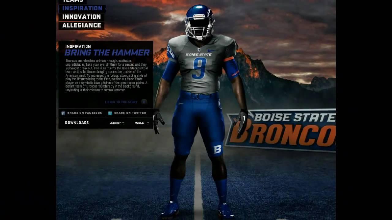 5e9ed8d1 NCAA Football 11 Teambuilder - 2010 Boise State Nike Pro Combat Uniforms -  YouTube