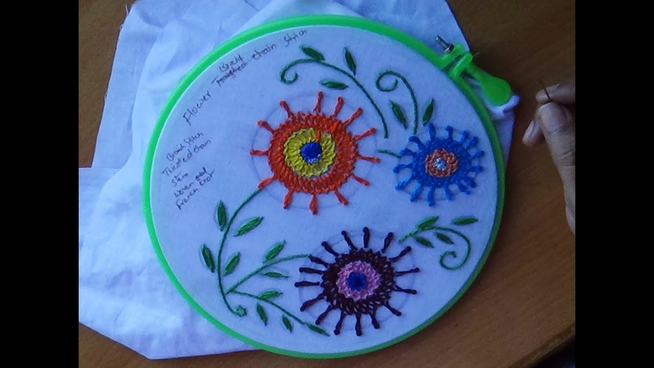 Hand embroidery designs braid stitch design youtube
