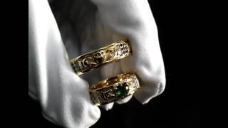 Кладдахские обручальные кольца из жёлтого золота 585 пробы, с бриллиантами и изумрудом 💎 Арт. i1821