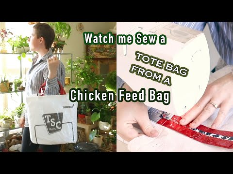 How I sewed a Tote Bag 👜 From a Chicken Feed Bag!     Last Minute Laura